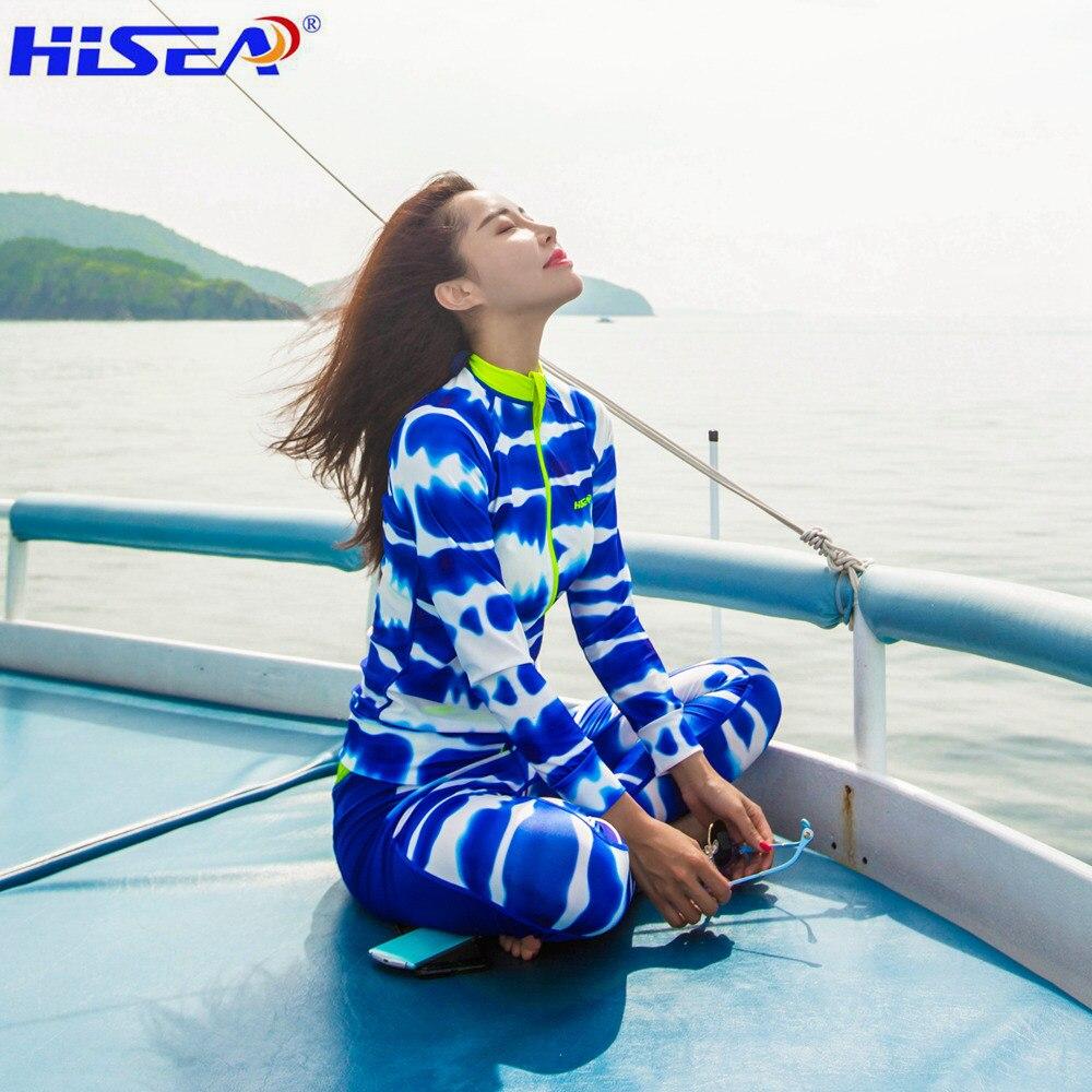 HISEA Women beach Elastic calico zipper Rashguards Surf Shirt Lycra Long Sleeve Swimsuit Short Pants Rash