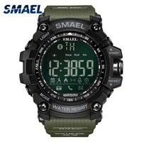 50 Metre Yüzmek Elbise Spor Saatler Smael Marka Ordu Yeşil Stil Bluetooth Bağlantı Akıllı Saatler Erkekler Dijital Spor Erkek Saat 1617B