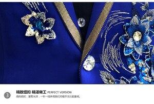 Image 4 - שלוש חתיכות להגדיר חליפות גברים של זמרים לבצע שלב להראות פאייטים רקום פרח אדום כחול ורוד חתונה חליפת תלבושות Homme