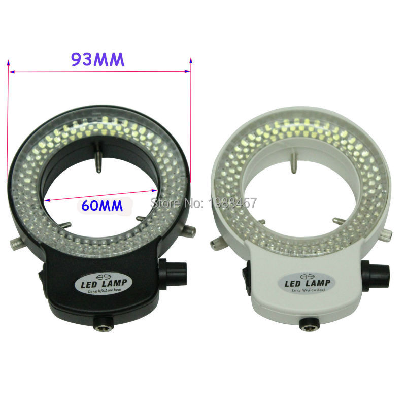 Réglable 6500 K 144 LED Light Ring illuminateur Lampe Pour L'industrie Stéréo Microscope Lentille Caméra Loupe 110 V-240 V Adaptateur