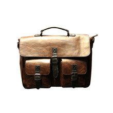 Handbag Messenger Shoulder Briefcase 15″Laptop Tote Man Bag With Pocket Faxu Crazy Horses Leather Coffee Bags Male 6398