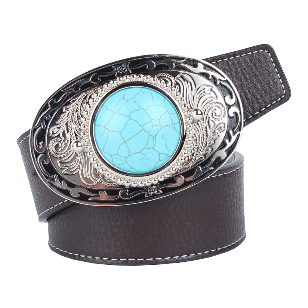 Women Men Waist Belt Leather Belts Waist Strap Turquoise Buckle Waistband Western Cowboy Style Party Dress Decor