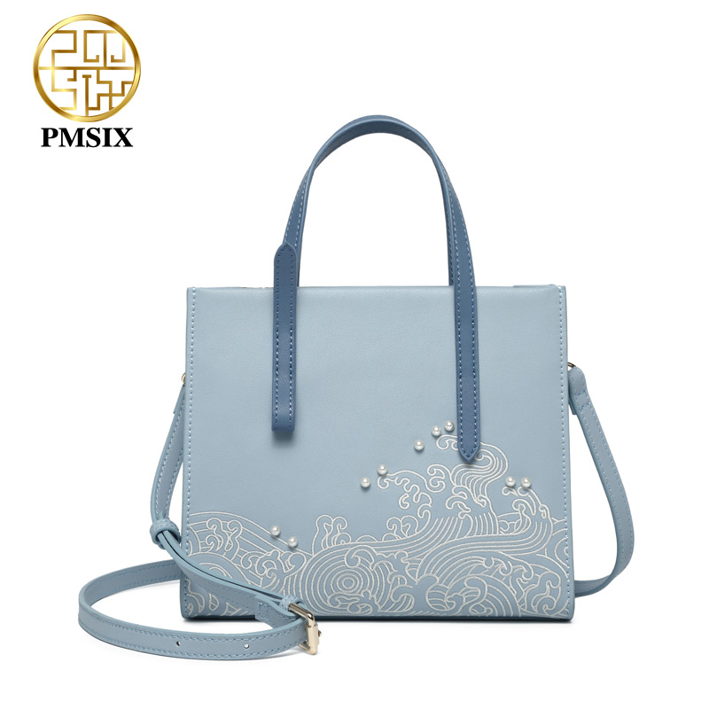 Pmsix designer brand famous in womens'bag Embroidery pearl handbags Split Leather classic crossbody bags Simple small women bag elsie mochrie simple embroidery