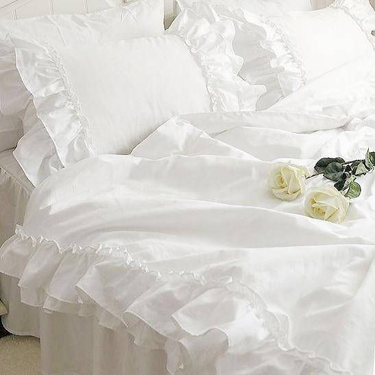 New korean double lotus leaf block bedding set handmade satin cotton lace folds bedding wedding decoration