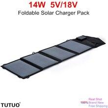 TUTUO 14W 5V 18V Foldable Solar Panel Outdoor Travel Portable Pack High Efficiency Solar Power Bank
