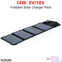 TUTUO 14W 5V 18V Foldable Solar Panel Outdoor Travel Portable Pack High Efficiency Solar Power Bank Charger