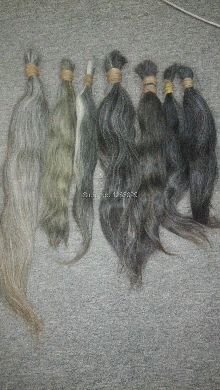 Unprocessed Natural Blonde Gray Human Hair Bulk Virgin Remy Russian