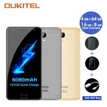 OUKITEL K6000 Plus Smartphone Android 7.0 4 GB RAM 64 GB ROM Octa Core 5.5 Pouce 8MP + 16MP 6080 mAh Celular 4G Mobile Téléphone Android
