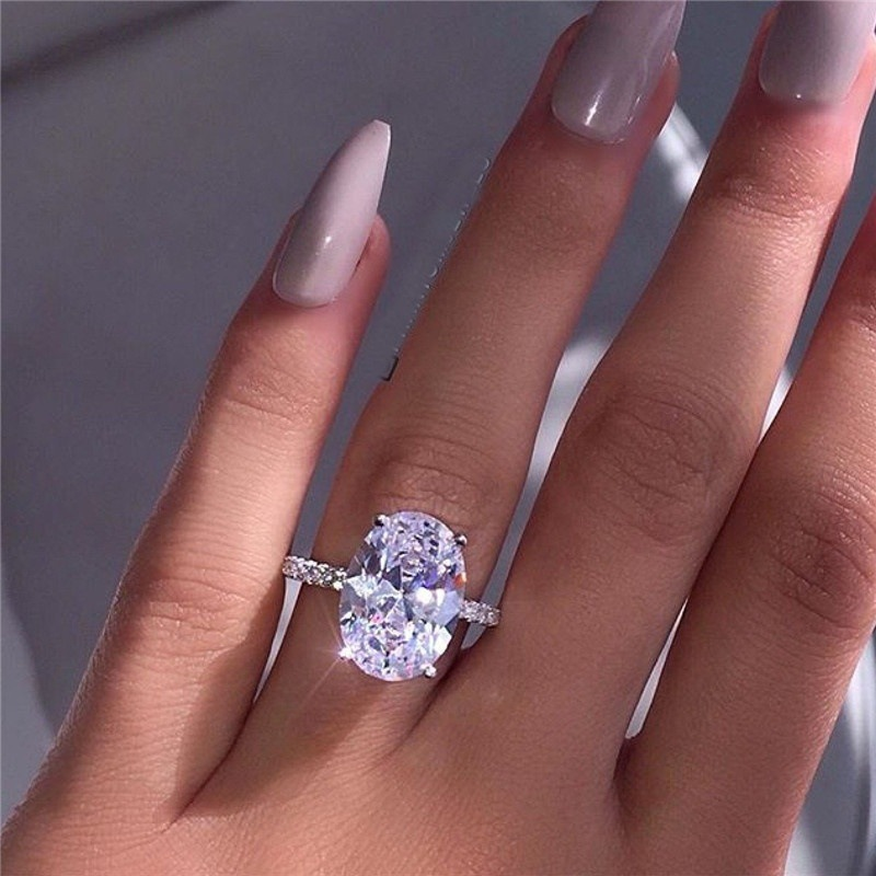 Stone Ring Wedding-Jewelry White Zircon Fashion Women Luxury Crystal Promise Female 925-Silver-Color