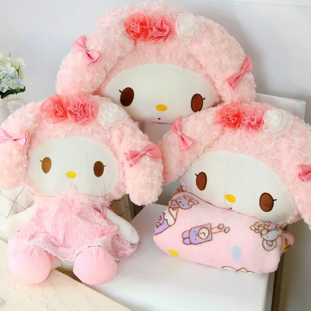 candice guo plush toy stuffed doll cartoon animal my melody rabbit rest pillow cushion hand warm blanket baby birthday gift 1pc hot sale 1pc 35 15cm cartoon smile naughty pig plush doll hold pillow animal stuffed toy children birthday gift free shipping