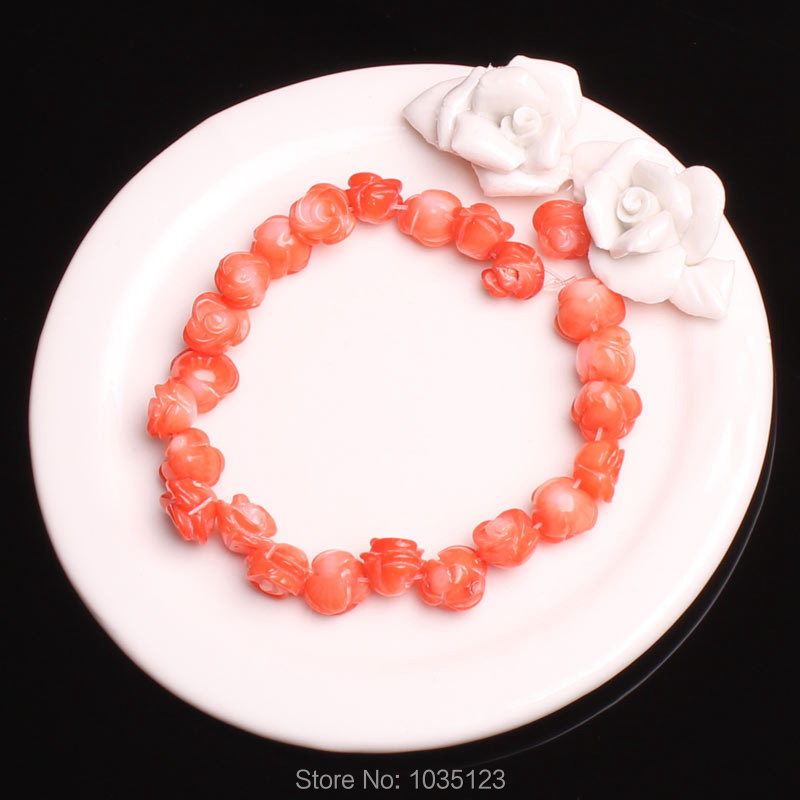 Free Shipping 9-10mm Natural Pink Coral Engraving Flower Shape DIY Gems Loose Beads 25Pcs Creative Jewellery Making w3452