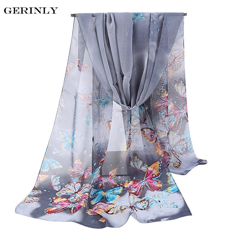 New Women Chiffon Silk   Scarf   Fashion Spring Long Polyester   Scarves   Printed Butterflies Hijab Scarfs Summer Shawls Female   Wraps