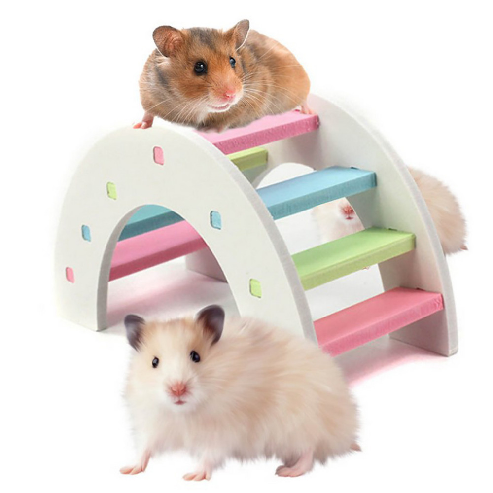 Hamster Toys Rainbow Bridge Guinea Pig Hamster Wooden Toy Physical Training Toys Small Pet Toys