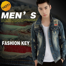 Fashion Teenagers Men Hip hop Slim Fit Denim Jacket Spring Autumn Vintage Hole Ripped Casual Streetwear Biker Boys Motocycle Top