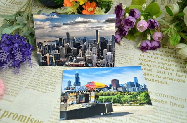 Chicago postcard scenery american greeting cards collection art chicago postcard scenery american greeting cards collection art lenticular recycled recordable 1510cm 8pcs m4hsunfo