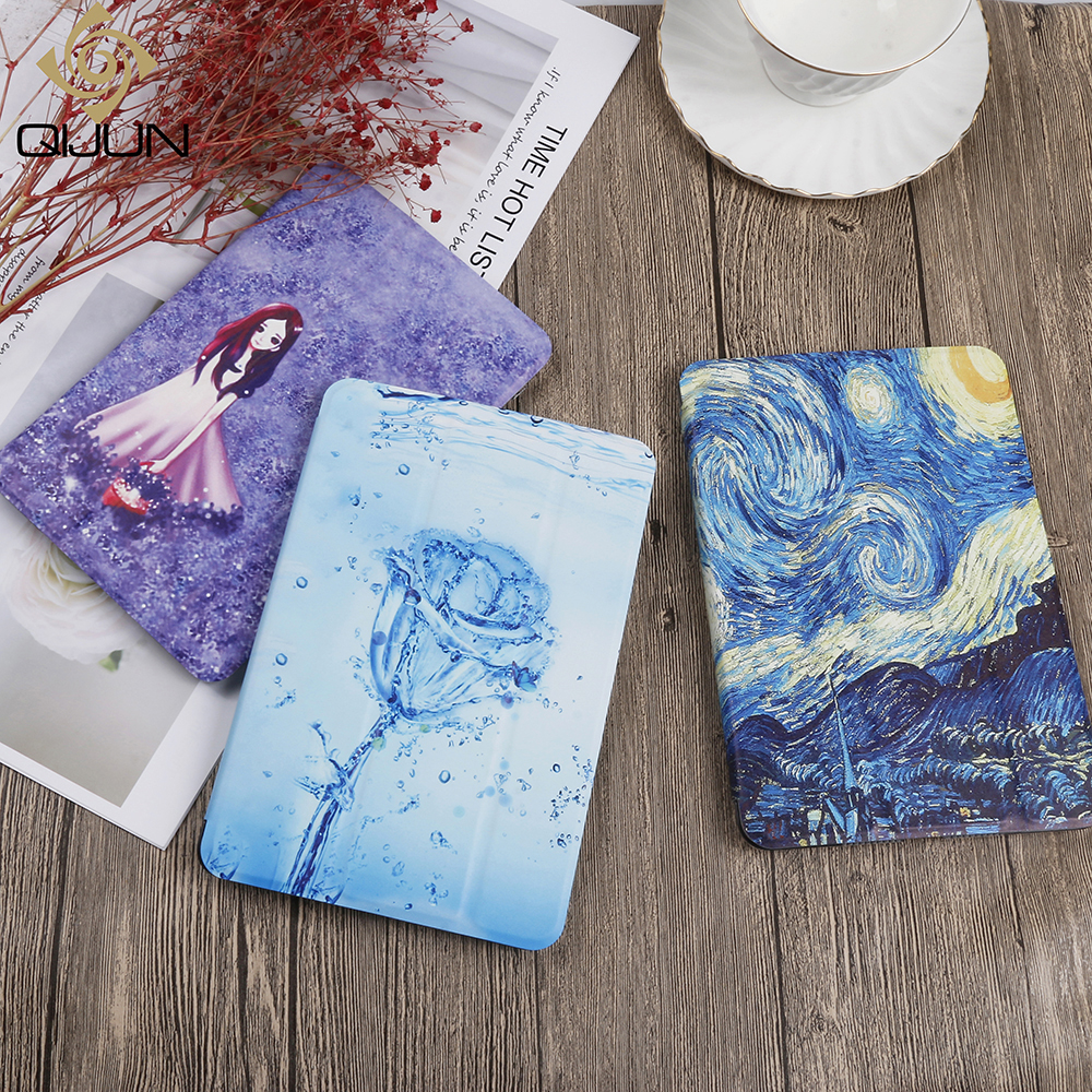 QIJUN Painted Case For Xiaomi Mipad 2 3 7.9'' Mipad2 Mipad3 PU Leather Flip Stand Cover For Mi Pad 2/3 7.9inch Smart Cover Cases