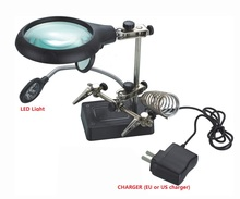 Lampe lupa de escritorio lupa Lupa con led lupe vergrootglas tercera mano ayudar tercera mano soldadura lentes lupa