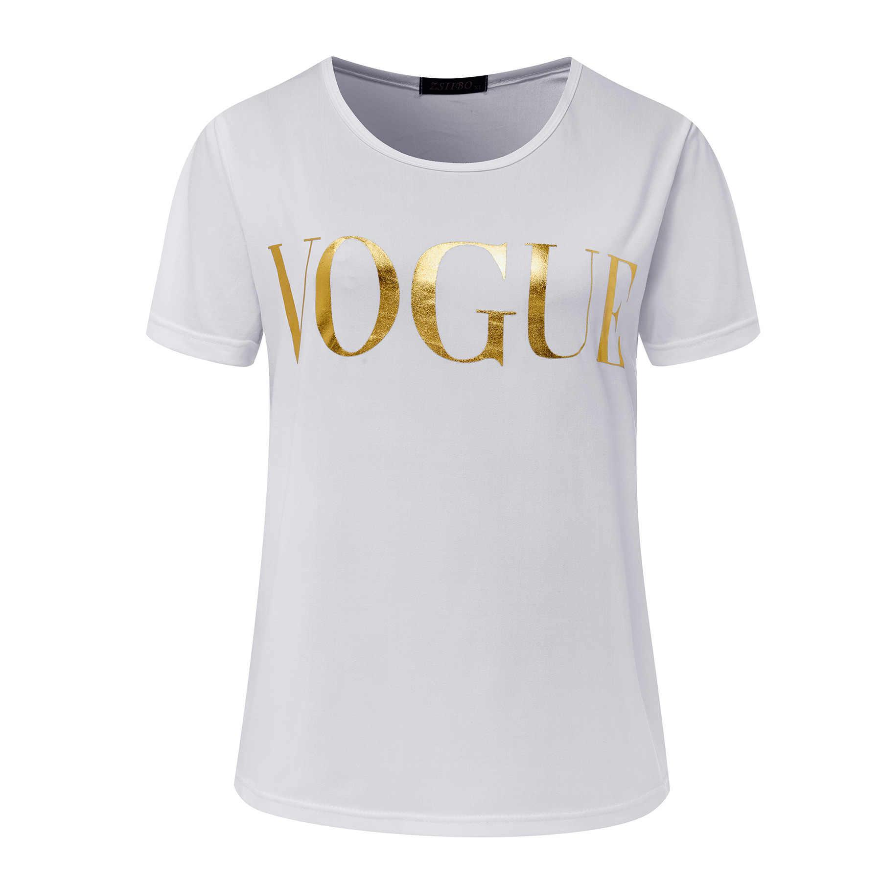 T shirt kadın tshirt 2019 yeni vintage vogue mektup baskı kadın kısa kollu yaz tarzı T-shirt kadın vestidos ropa mujer t012