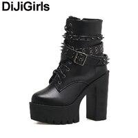 DiJiGirs Women Ankle Boots Punk Gothic Rivets Stud Strap Biker Bootie Platform Ultra Very High Heel