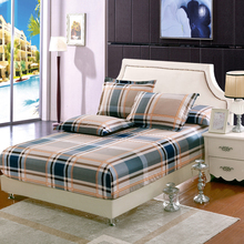 Plaid 100%Cotton Bed Sheet Fitted sheet With Elastic Band Bed set Twin Queen King sze Bedlinen 160cmX200cm size Mattress Cover