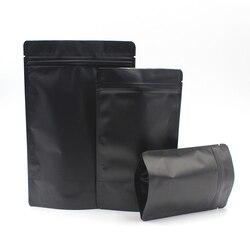 Multi-size 50pcs Heat Sealable Zipper Top Food Coffee Storage Bags Matte Black Aluminum Foil Stand Up Zip Lock Plastic Bag Pouch