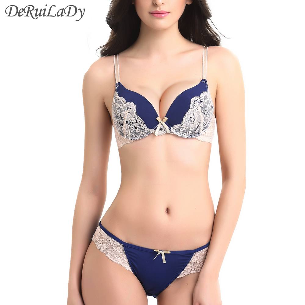 DeRuiLaDy Lace   Bra     Set   2016 Fashion Sexy Lingerie Plus Size C36 Push Up   Bra   And Panty   Sets   VS Embroidery Underwear Women   Bra     Set