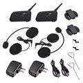 CARCHET 2X BT Interphone Bluetooth Casco de La Motocicleta Intercom Headset 1200 M 6 Jinete Moto Auriculares Manos Libres Llamada EE. UU. Plug