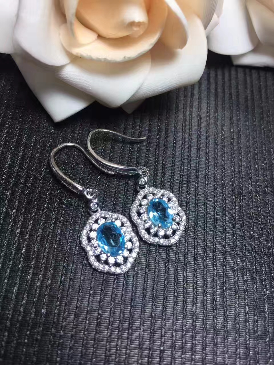 natural blue topaz gem drop earrings 925 silver Natural gemstone women generous fashion irregular drop earrings jewelry party