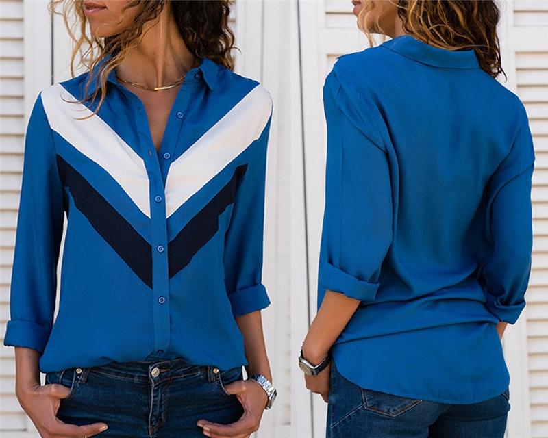 Women Blouses Fashion Long Sleeve Turn Down Collar Office Shirt Leisure Blouse Shirt Casual Tops 65