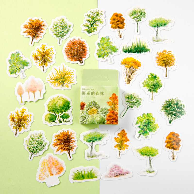 46Pcs/Box Kawaii Forest Stickers Cute Trees Toys Stickers Novelty Adhesive Stickers For Kids Scrapbooking Diary Photos Albums