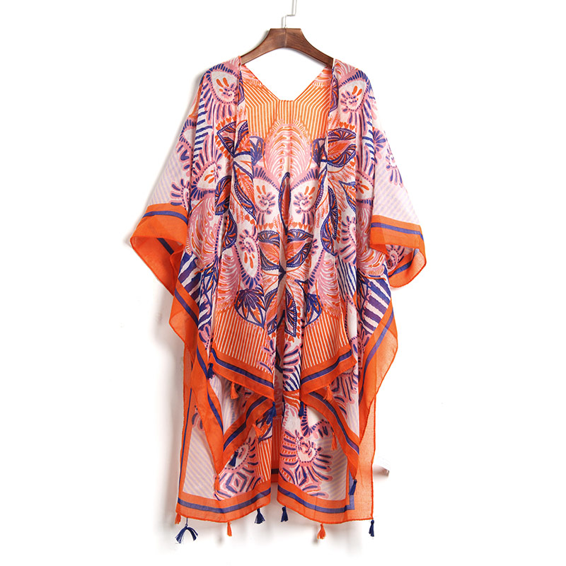 Sexy Summer Robe De Plage Beach Tunic Cover Up dress Beach Kaftan Beach Pareo Beach Cover Ups Printed Sarong Bathing Suit 2018 chic fringed printed cover up