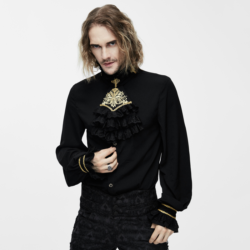 Devil Fashion Victorian Gothic Men's Silk Tie Shirt Steampunk Black White Tuxedo Shirts With Lace Collar Male Blouses Tops-in Dress Shirts from Men's Clothing