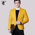 Нотч Желтый Мода Новый Стиль Slim Fit Пиджаки Мужчины One Button Партия Господа Досуг Пиджаки