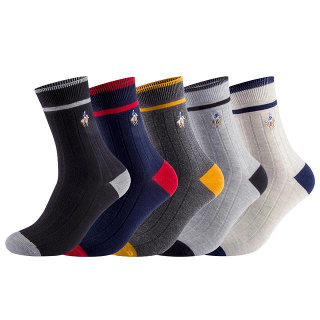 5 pairs/lot winter men socks Pure Cotton thicker warm crew Socks PIER POLO Embroidered  Medias de los