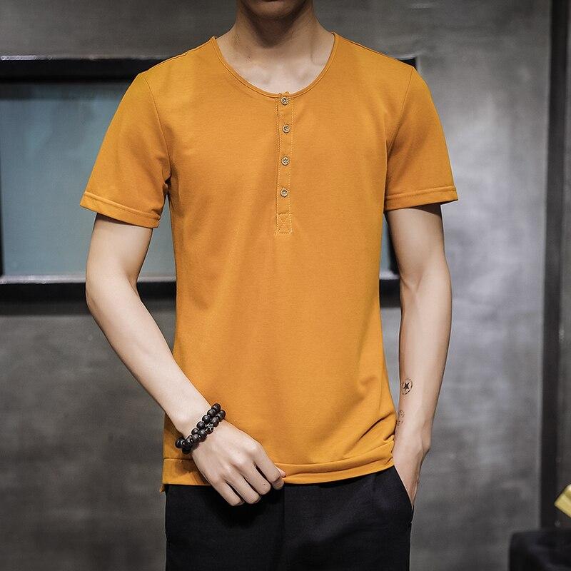d5bd243a2 2019 nueva camiseta de lino de algodón de verano de los hombres de cuello  de Enrique tops de manga ...