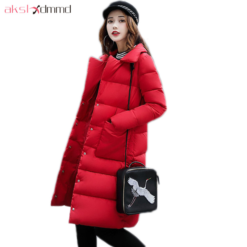 AKSLXDMMD Winter Women Jacket 2017 New Casual Parkas Mujer Women Thick Padded-cotton Pockets Slim Mid-Long Coats Female LH1191 akslxdmmd parkas mujer plus size winter coats 2017 new thick padded cotton printed letters hooded winter women jacket lh1114