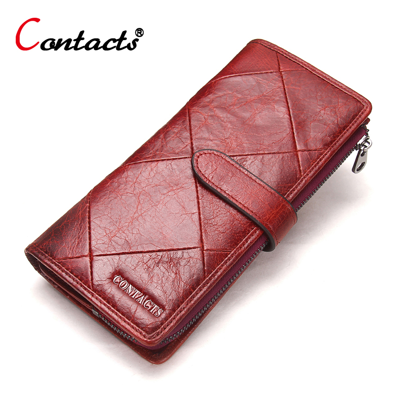 CONTACT'S Women Wallet Female Clutch Patchwork Genuine Leather Wallet Coin Purse Credit Card Holder Women Wallets And Purses Red brand 3 fold genuine leather women wallets coin pocket female clutch travel wallet portefeuille femme cuir red purse card holder