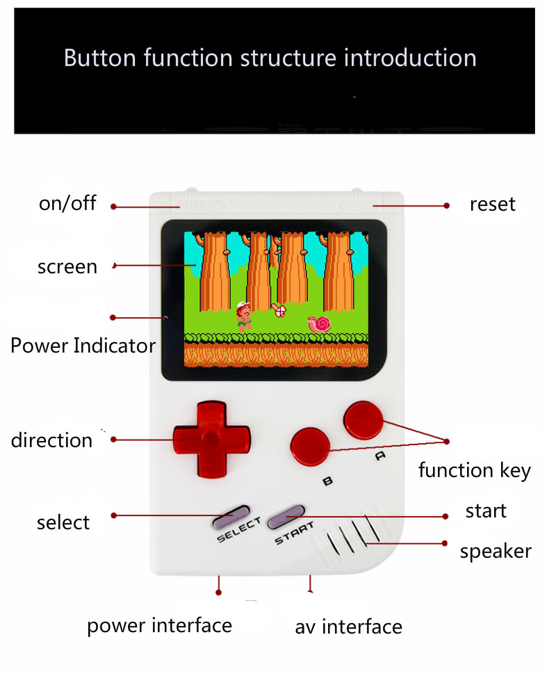 Portable 2.5 Inch Color Screen Video Games Consoles 300 In 1 Classic Games Handheld Game Player