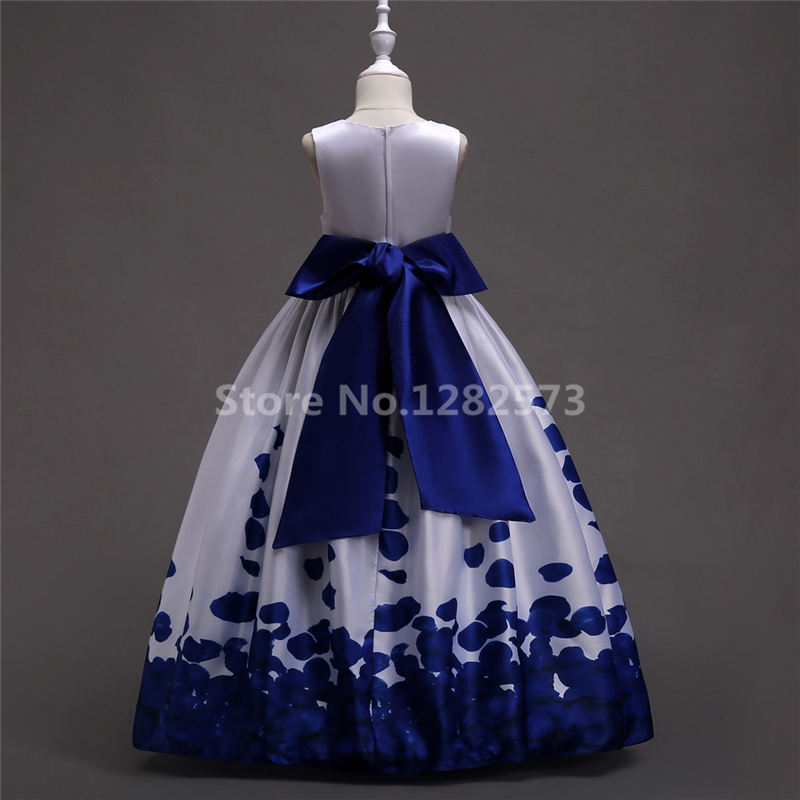 4a7b1503def99 In Stock White and Royal Blue Flower Girl Dresses 4 16Y Satin First Holy  Communion Dresses for Girls Bow Cheap Pageant Bow Gown-in Flower Girl  Dresses from ...