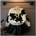 Buenos Ninos 2PCS/set Baby Girl Clothing Set Children Kids Batwing Sleeve Sweater Coat + Leather Skirt Princess Sweet Twinset