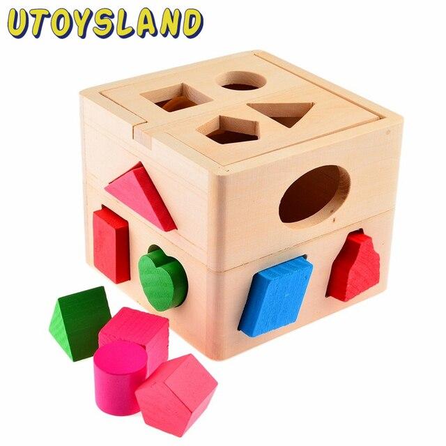 UTOYSLAND 13 Hole Intelligence Box for Shape Sorter Cognitive Matching Wooden Building Blocks Baby Kids Children Eductional Toys