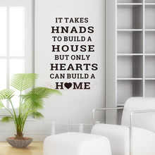 Stickers Quote Hands Build a House Hearts Home Vinyl Wall Decal Mural Art Wallpaper Living Room Decor Poster