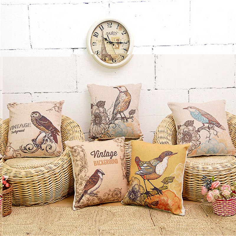 European Style Cushion Home Throw Pillows Birds Flowers Style Signature Cotton Funda Cojin CushionCushion