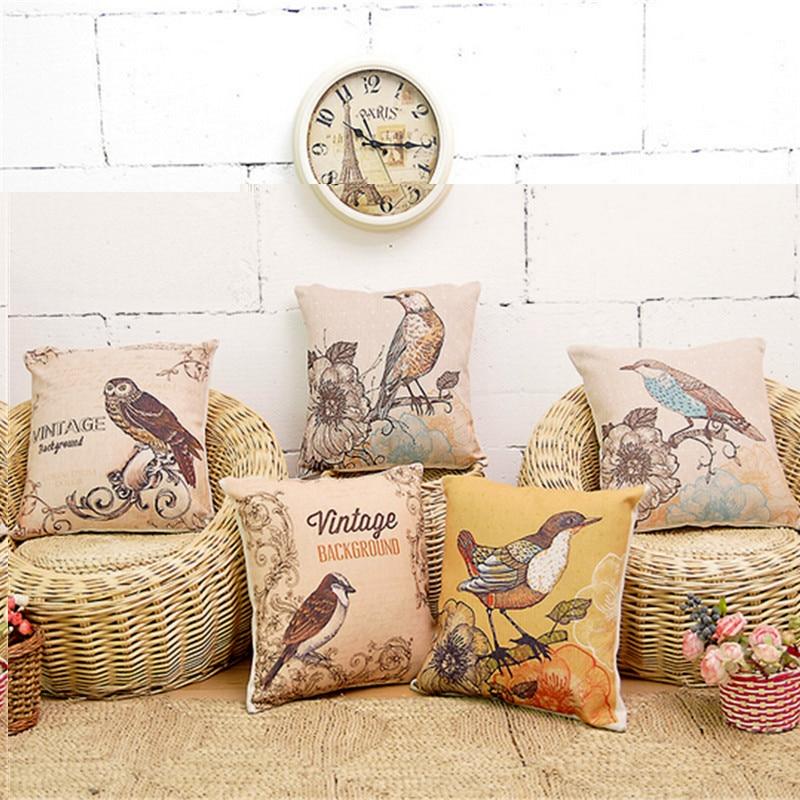 European Style Cushion Home Throw Pillows Birds Flowers Style Signature Cotton Funda Cojin CushionCushion