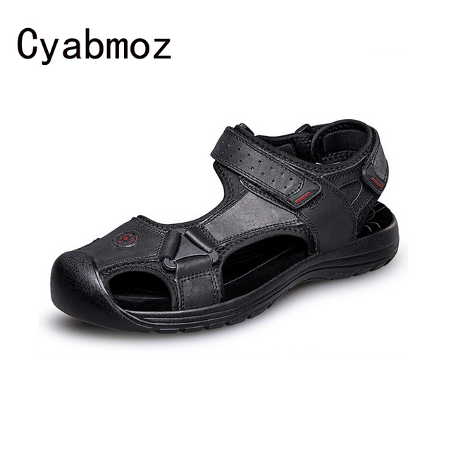 2119eea0611c Mens Genuine Leather Sandals Summer Gladiator Waterproof Closed Toe Casual Mens  Shoes Thick Platform Comfortable Beach Sandals