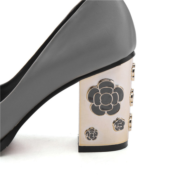 OUQINVSHEN Plum Blossom Appliques Women Pumps Pointed Toe Genuine Leather Ladies Pumps New Elegant High Heels Women Pumps Brand