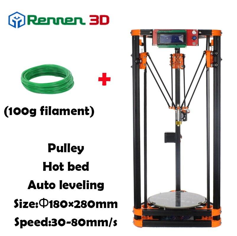 Prix pour 3 D Pas Cher Delta 3D Imprimante Auto Niveau Kossel Mini Reprap Prusa Rostock 3d-imprimante Machine Kit Avec Chaude Lit Injection