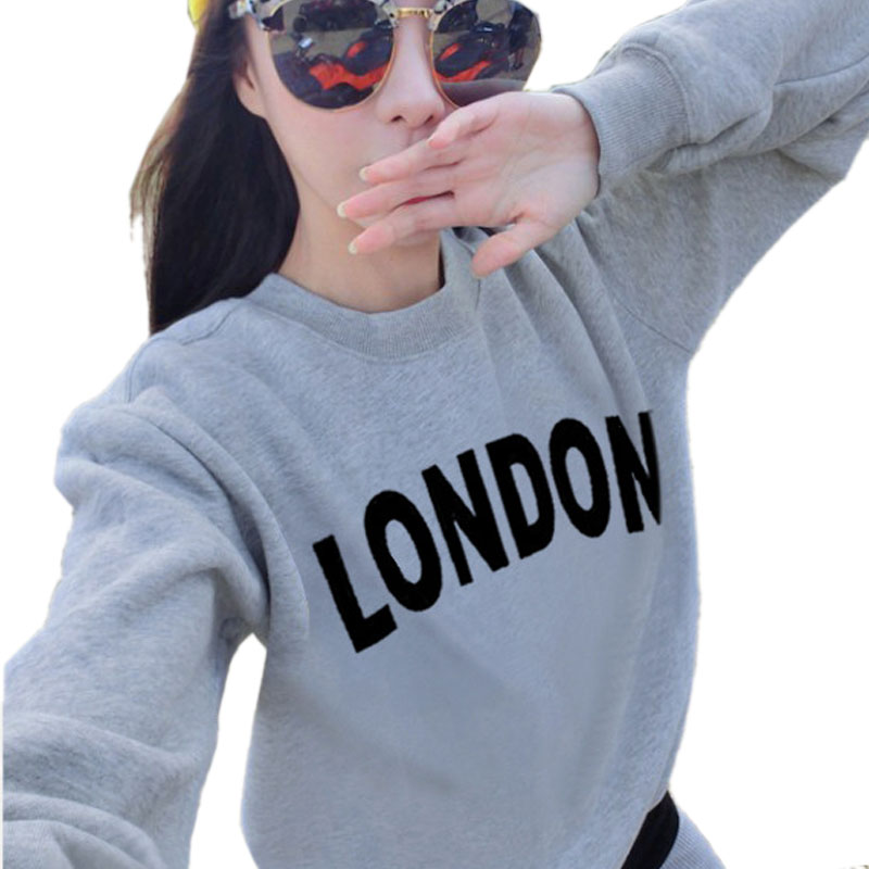 2018 Autumn And Winter Thin Paragraph Pullover Loose Large Size Fashion Playful Letters LONDON Hoodies Printed Shirt M-XXL