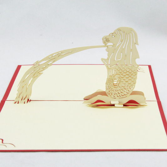 Singapore Merlion souvenir card /3D pop up kirigami card/ handmade greeting cards  Free shipping carousel horse pop up card 3d greeting card handmade kirigami card free shipping