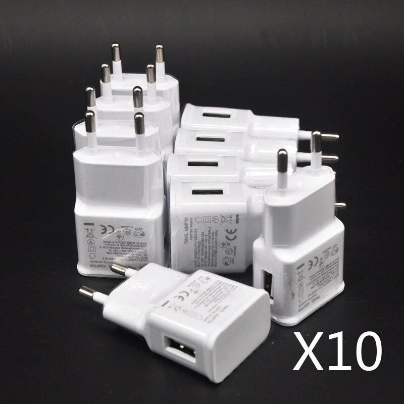 10 шт./лот 5 в 2 а вилка для ЕС настенное дорожное USB-зарядное устройство адаптер для Samsung galaxy S5 S4 S6 note 3 2 для iphone 7 6 5 HTC Huawei Xiaomi